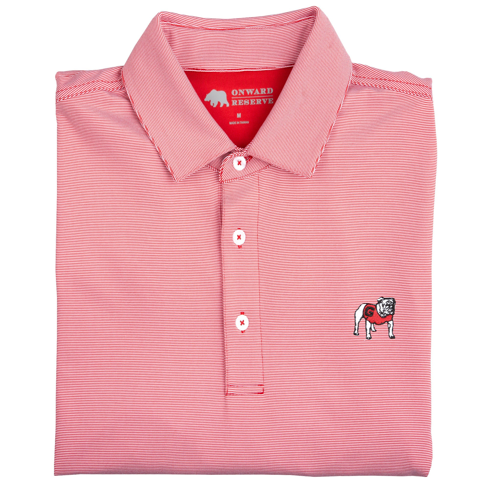Hairline Stripe Standing Bulldog Polo - Onward Reserve