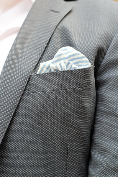 Seersucker Blue Pocket Square - Onward Reserve