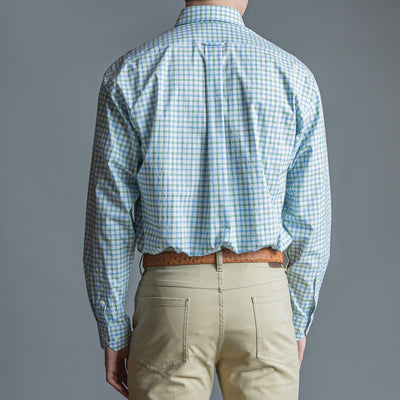 Green Windowpane Classic Fit Stretch Cotton Button Down