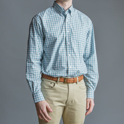 Green Plaid Classic Fit Stretch Cotton Button Down - OnwardReserve