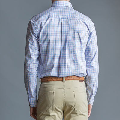 Lilac Plaid Tailored Fit Stretch Cotton Button Down