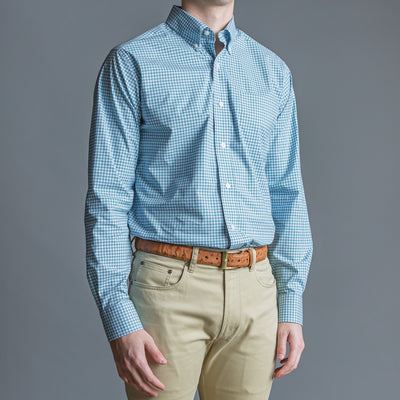Green Check Tailored Fit Stretch Cotton Button Down - OnwardReserve
