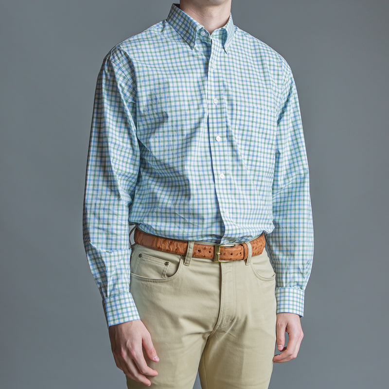 Green Windowpane Classic Fit Stretch Cotton Button Down - OnwardReserve