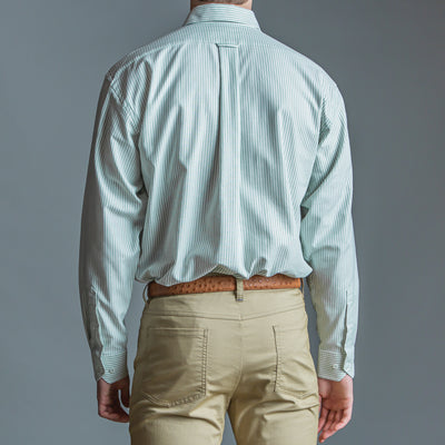 Green Stripe Classic Fit Performance Oxford Button Down