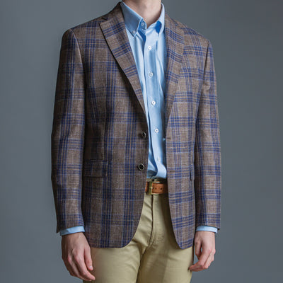 Loro Piana Summertime Brown & Blue Sport Coat - OnwardReserve