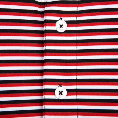 Triple Stripe Performance Polo - Red/Black - OnwardReserve