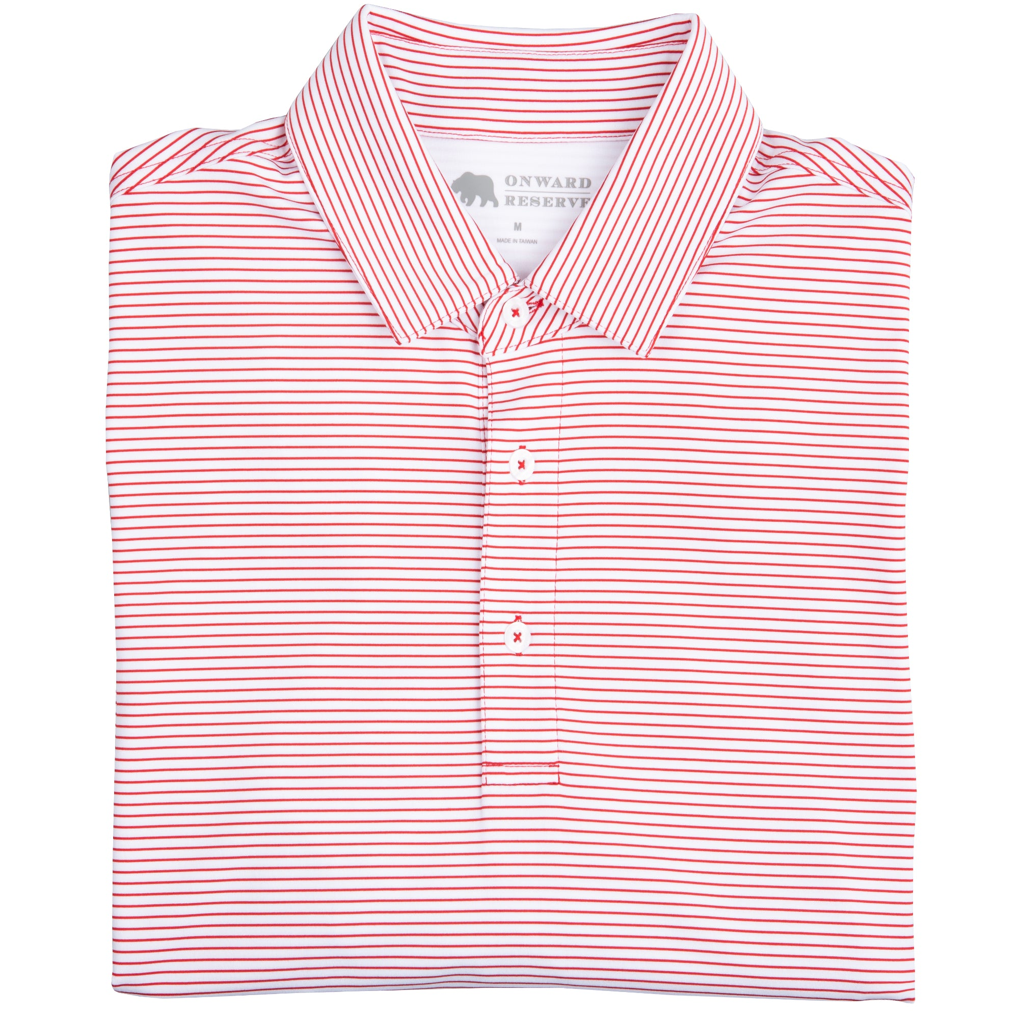 Birdie Stripe Performance Polo - White/Red - OnwardReserve
