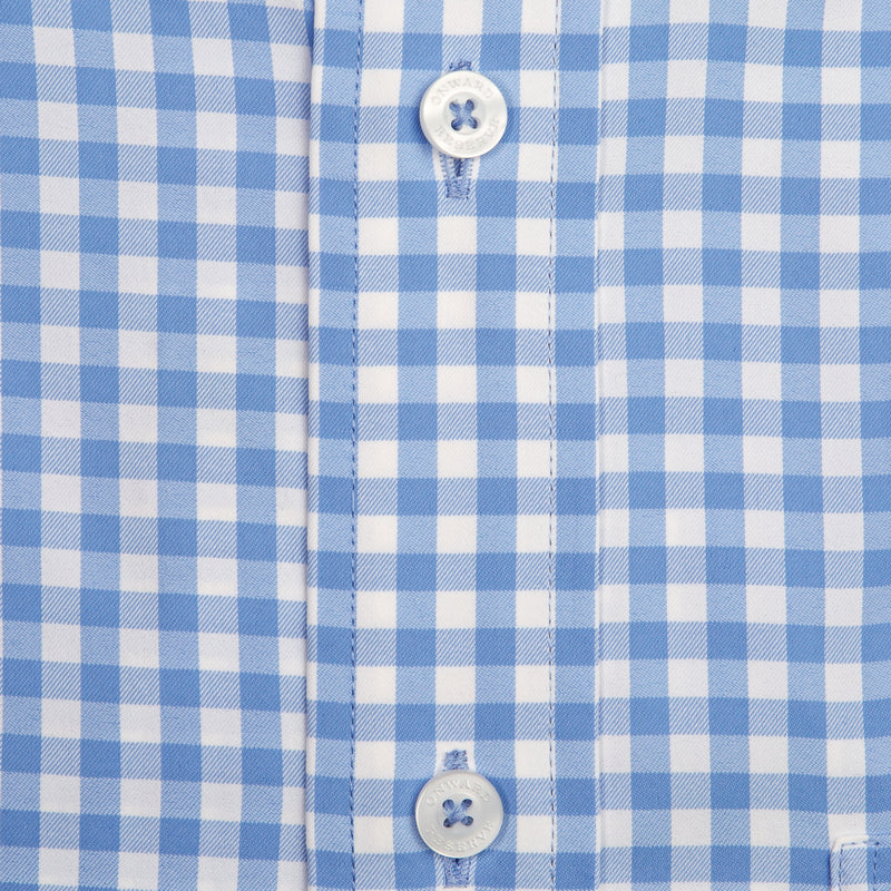 Sky Blue Gingham Classic Fit Performance Button Down