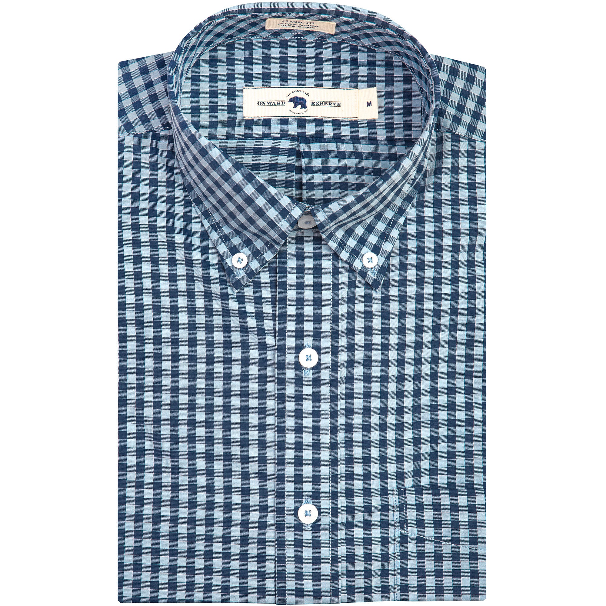 Sky/Navy Gingham Classic Fit Performance Button Down