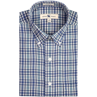 Blue Plaid Classic Fit Performance Twill Button Down