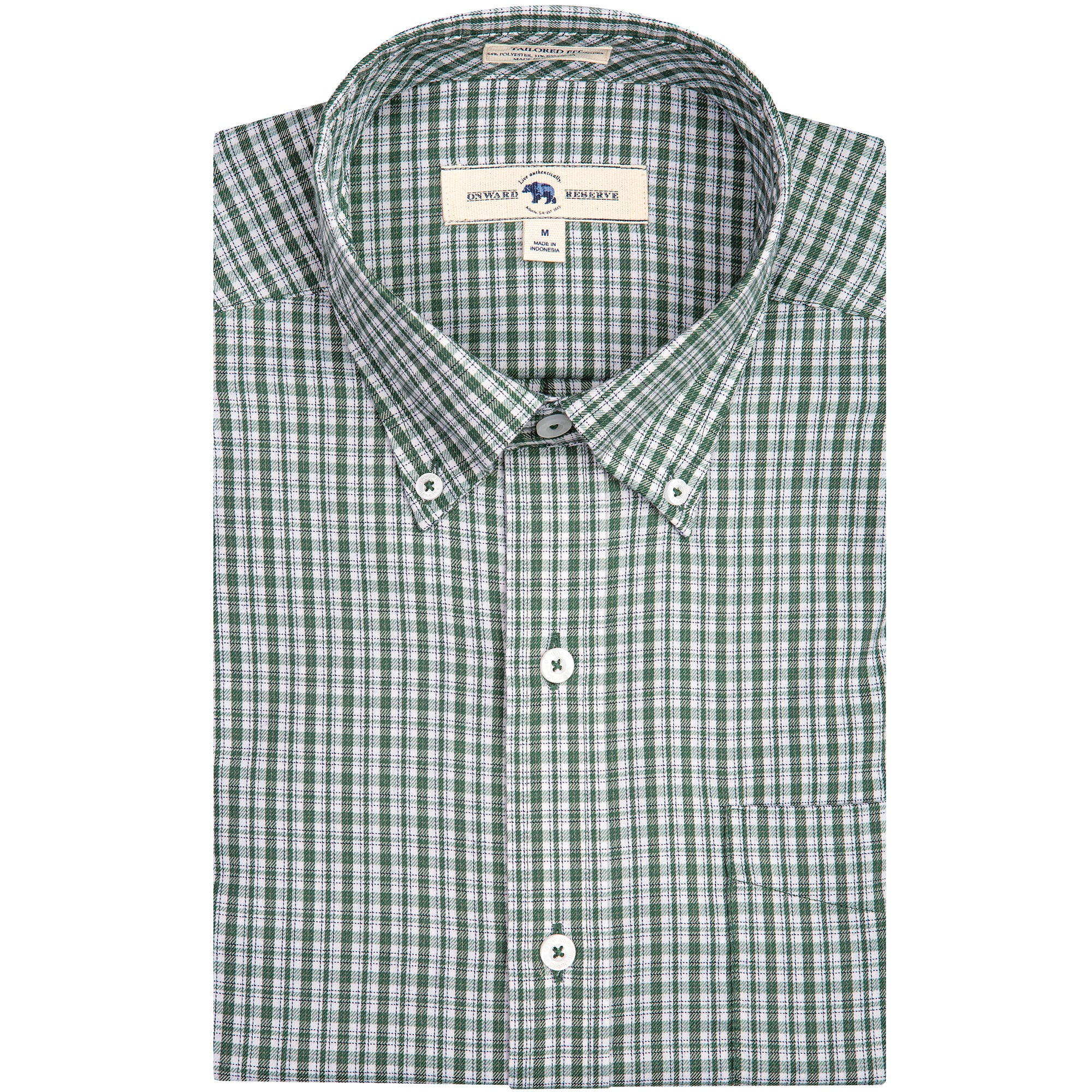 Green Check Tailored Fit Performance Twill Button Down