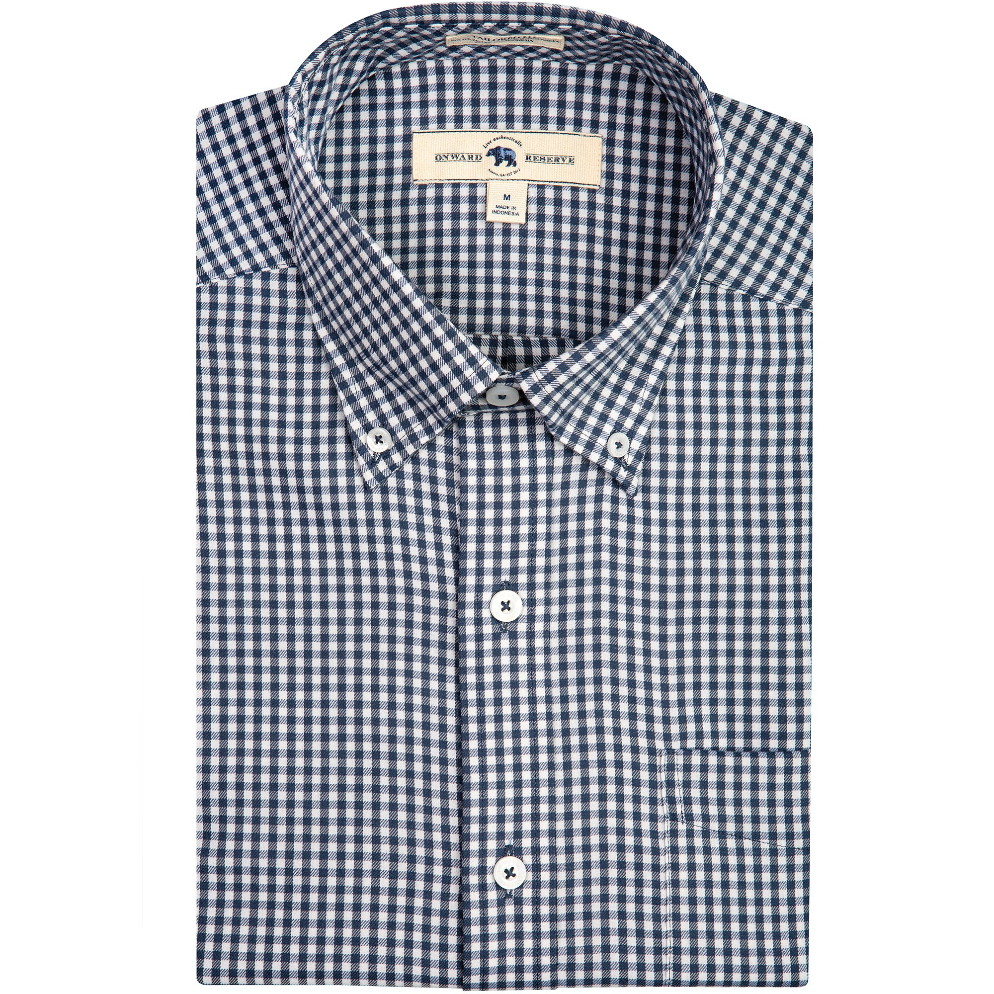 Navy Gingham Tailored Fit Performance Twill Button Down