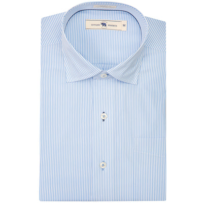 Light Blue/White Stripe Tailored Fit Spread Collar Shirt
