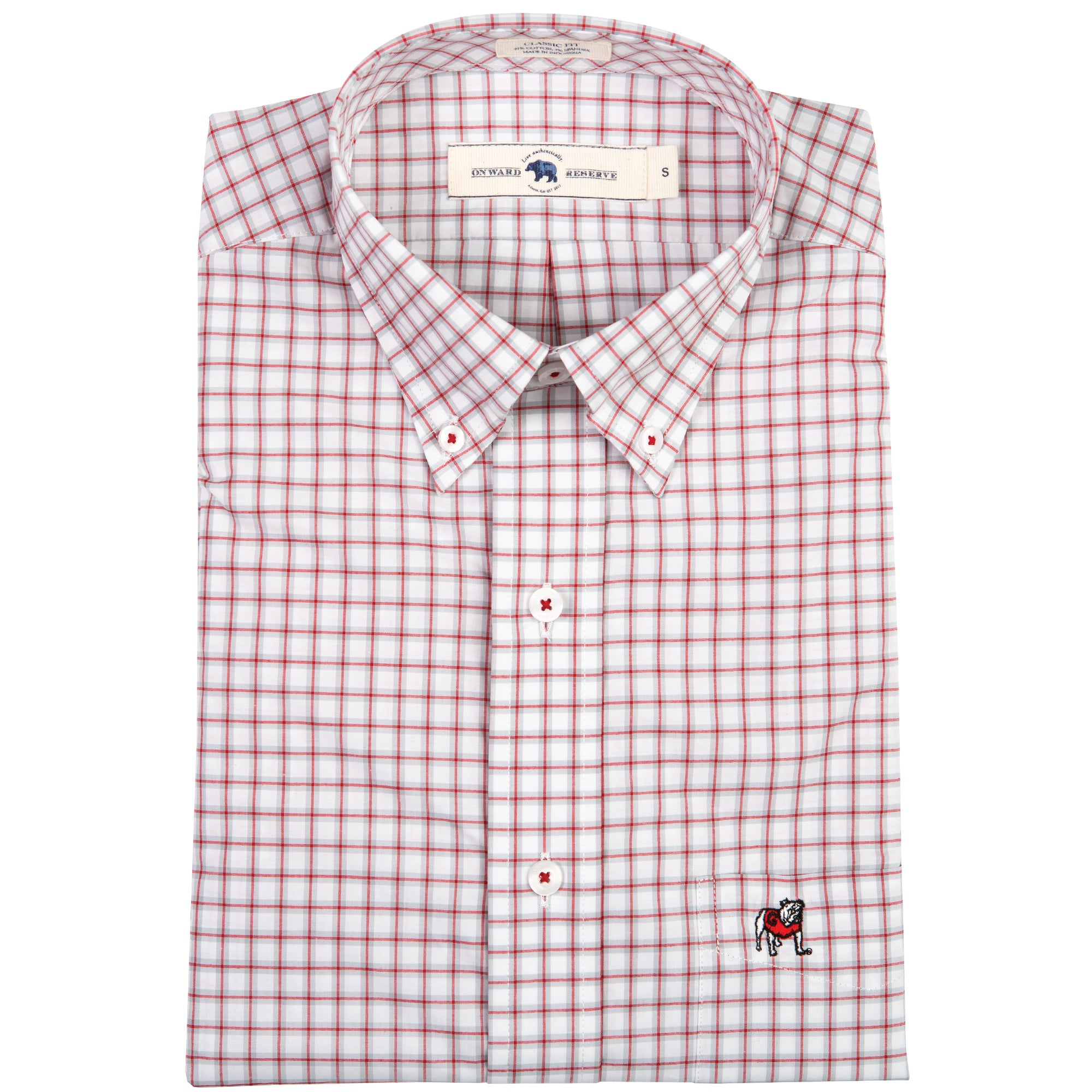 Standing Bulldog Red/Grey Classic Fit Stretch Cotton Button Down - OnwardReserve