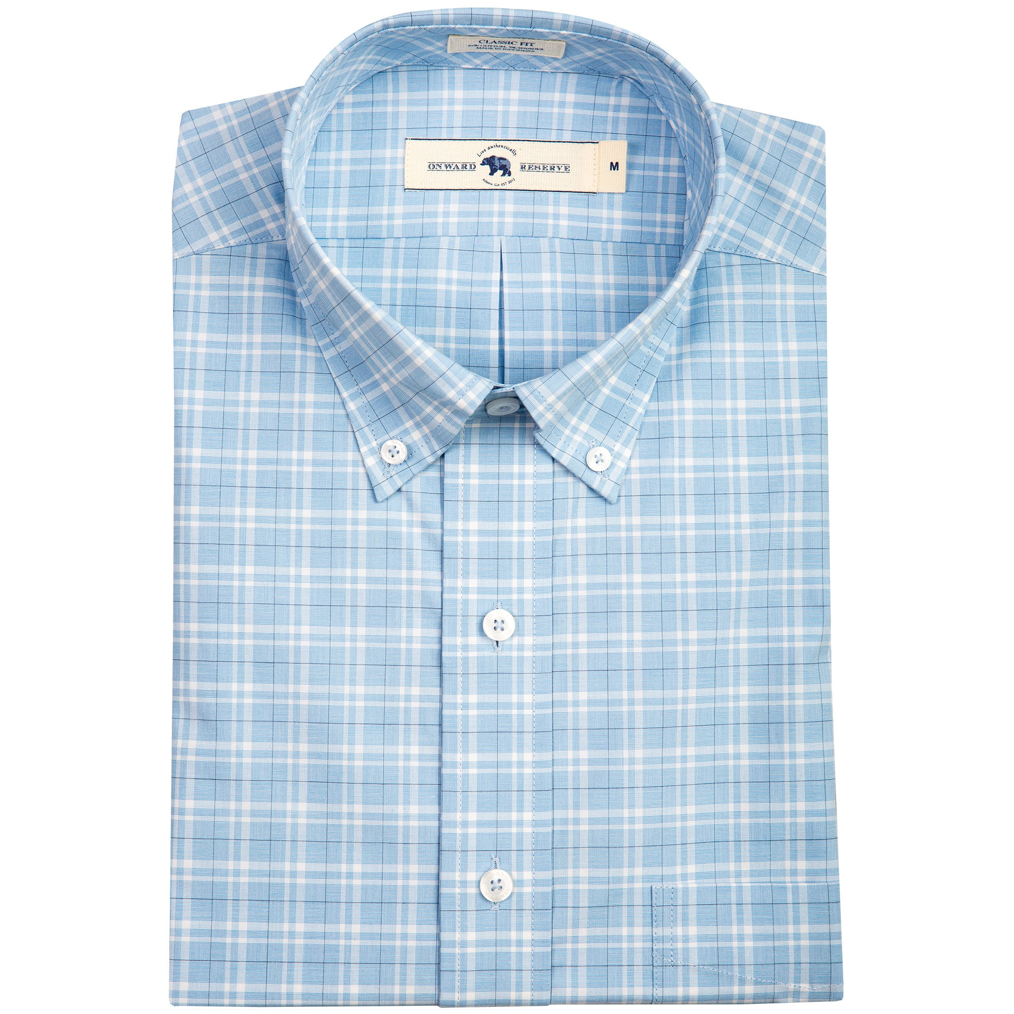 Sky Glen Plaid Classic Fit Stretch Cotton Button Down - OnwardReserve