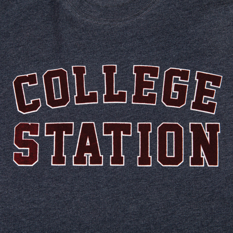 College Station Flocked Collegiate Short Sleeve Tee