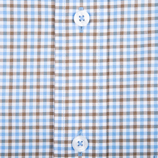 Brown Multi Gingham Classic Fit Stretch Cotton Button Down - OnwardReserve