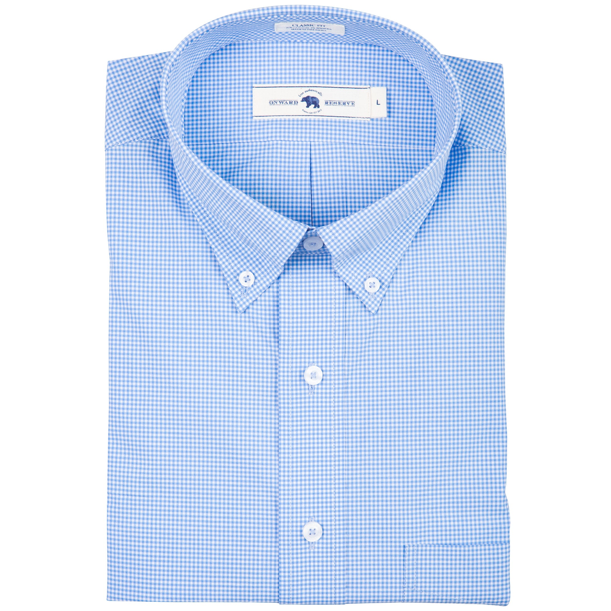 Sky Micro Gingham Classic Fit Stretch Cotton Button Down