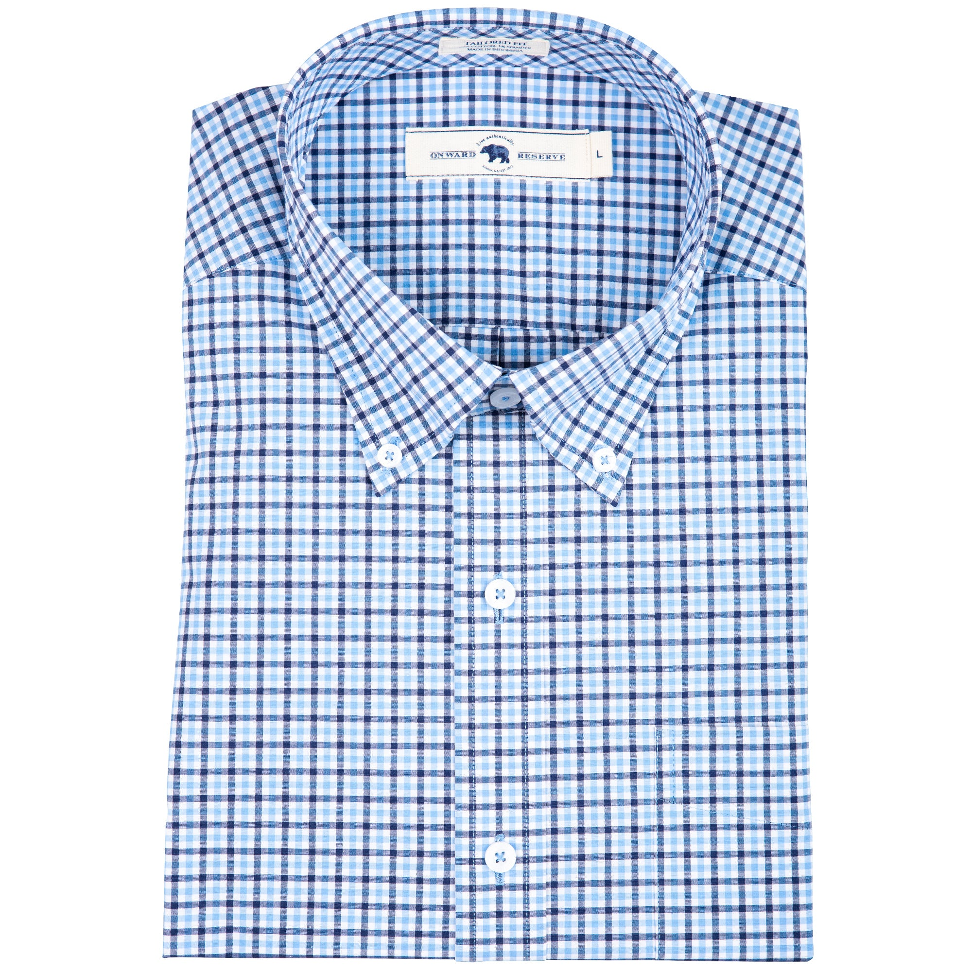 Navy Multi Gingham Tailored Fit Stretch Cotton Button Down - Onward Reserve