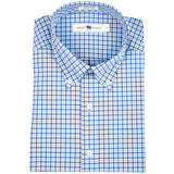 Navy Multi Gingham Tailored Fit Stretch Cotton Button Down