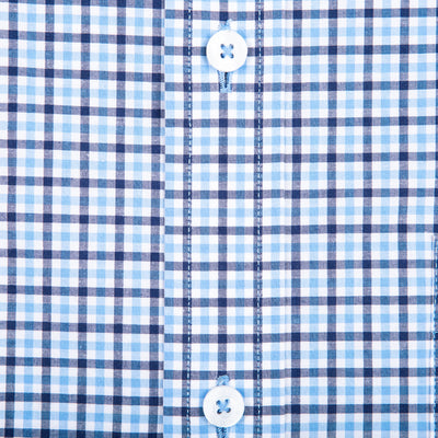 Navy Multi Gingham Tailored Fit Stretch Cotton Button Down - OnwardReserve
