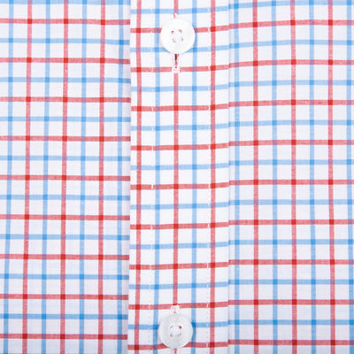 Red Tattersall Tailored Fit Stretch Cotton Button Down - OnwardReserve