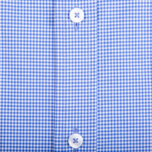 Navy Micro Gingham Tailored Fit Stretch Cotton Button Down