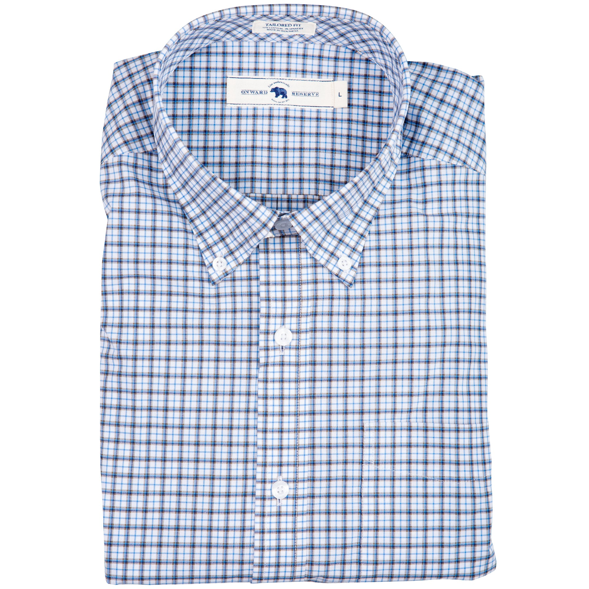 Brown Plaid Tailored Fit Stretch Cotton Button Down - OnwardReserve