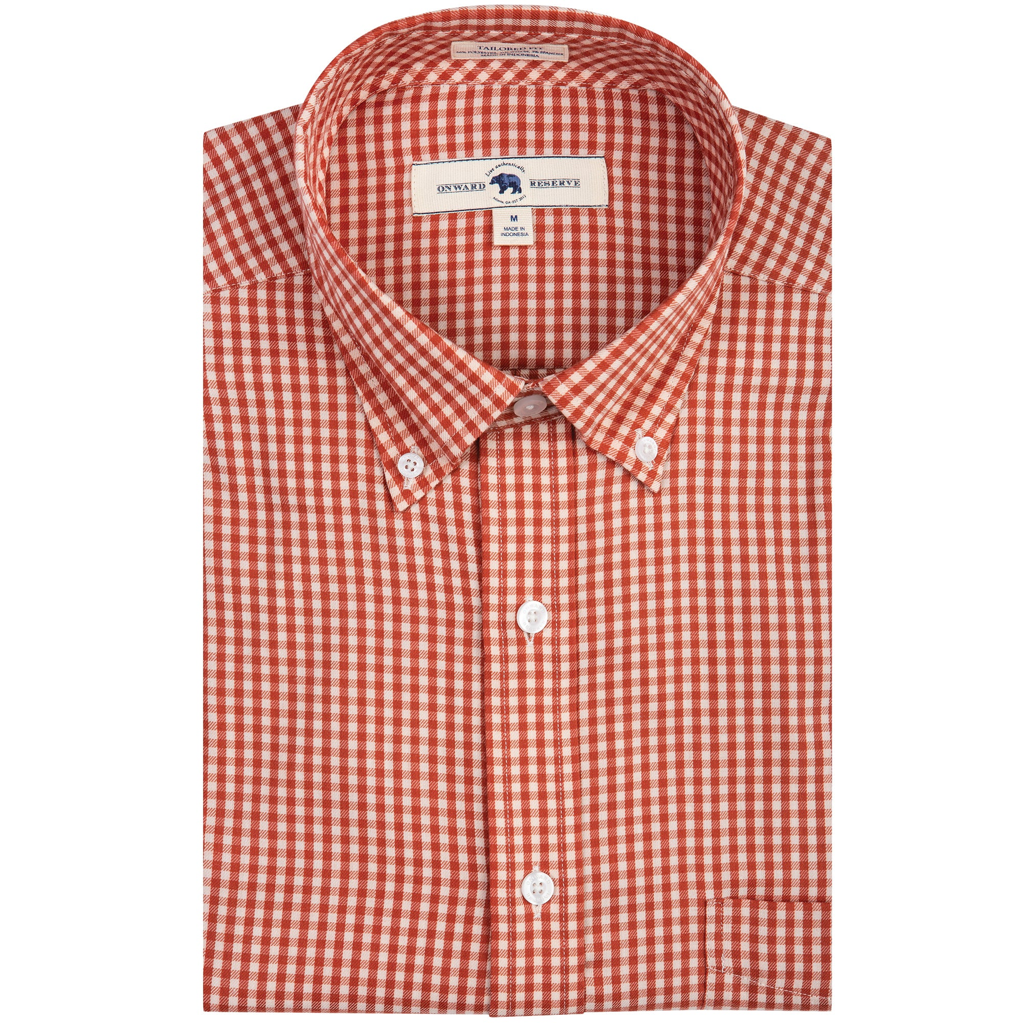 Brick Gingham Tailored Fit Performance Twill Button Down - OnwardReserve