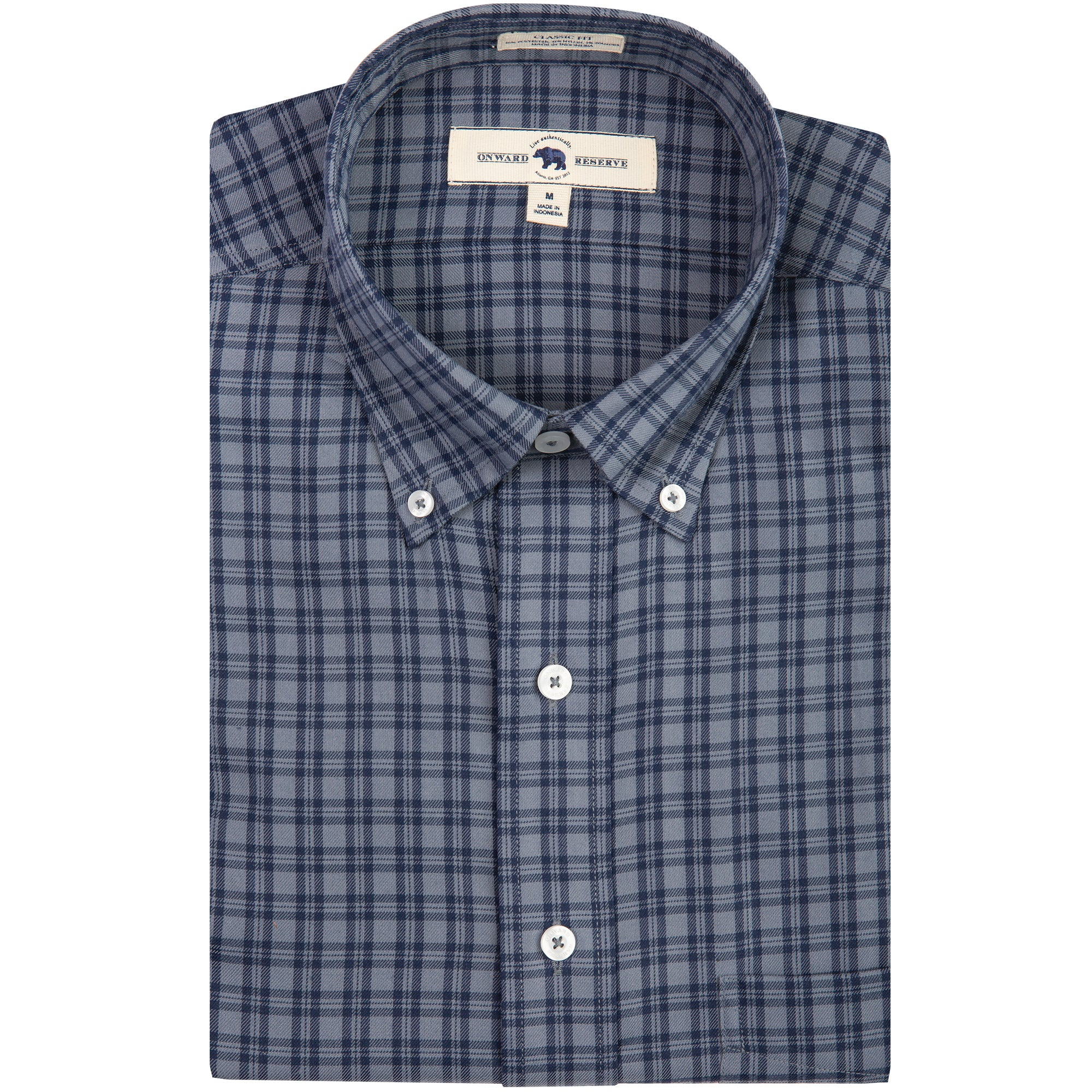 Grey/Navy Plaid Classic Fit Performance Twill Button Down