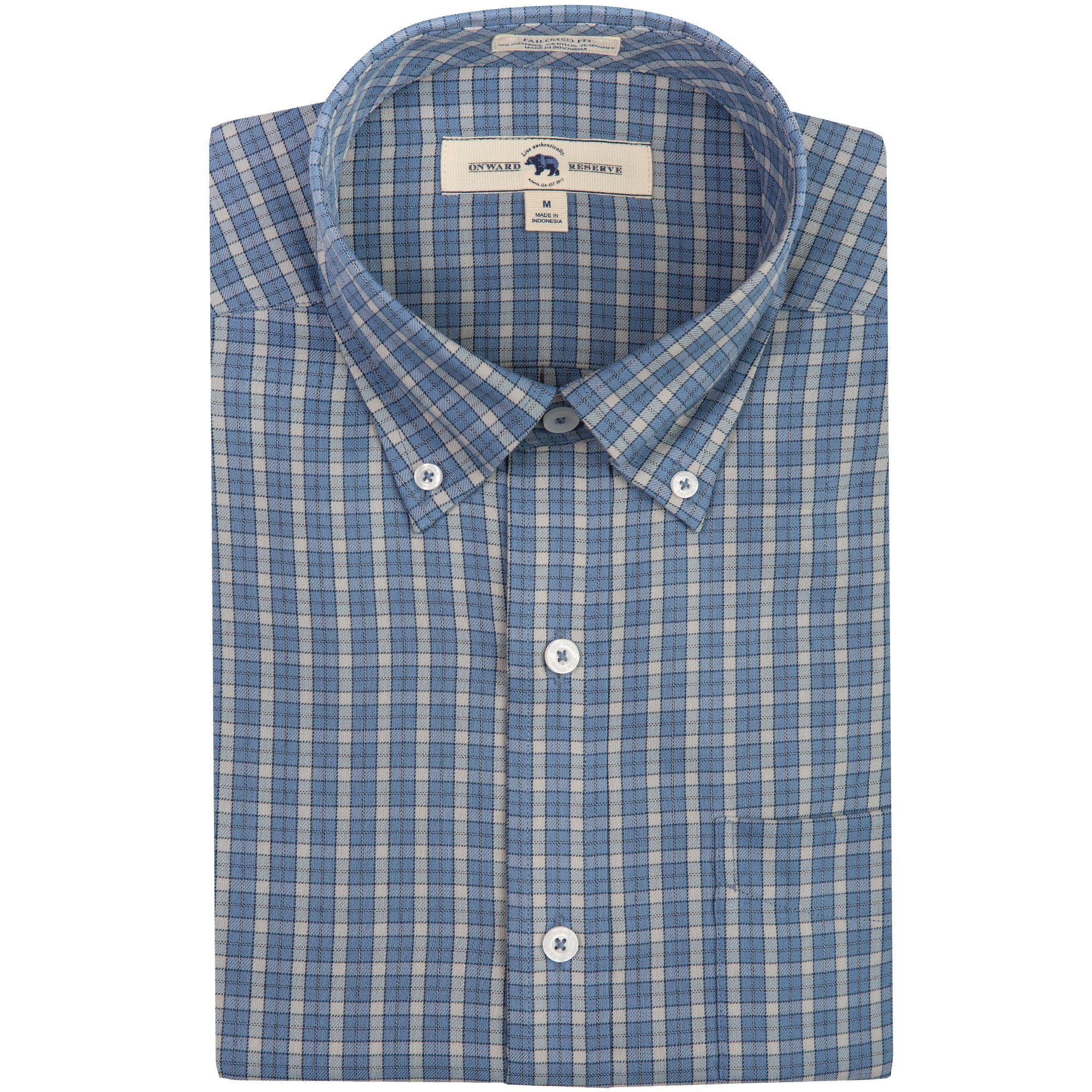 Washed Blue Plaid Tailored Fit Performance Twill Button Down