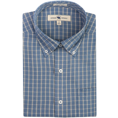 Washed Blue Plaid Tailored Fit Performance Twill Button Down - OnwardReserve
