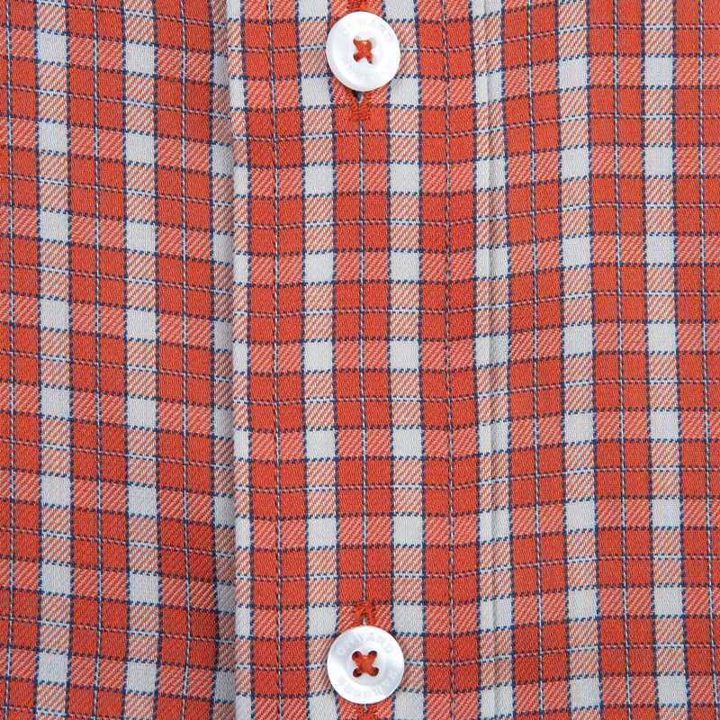 Brick Plaid Classic Fit Performance Twill Button Down