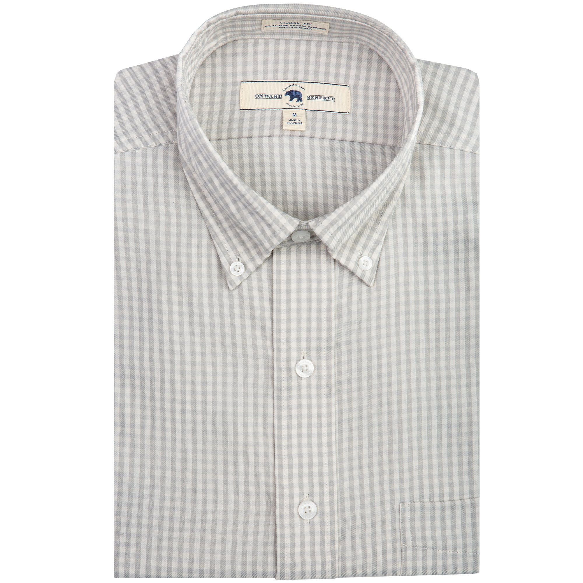 Grey Gingham Classic Fit Performance Twill Button Down