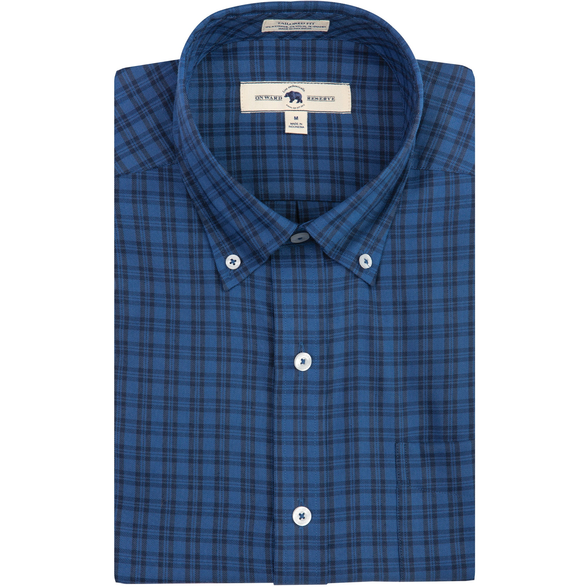 Royal/Navy Plaid Tailored Fit Performance Twill Button Down - OnwardReserve