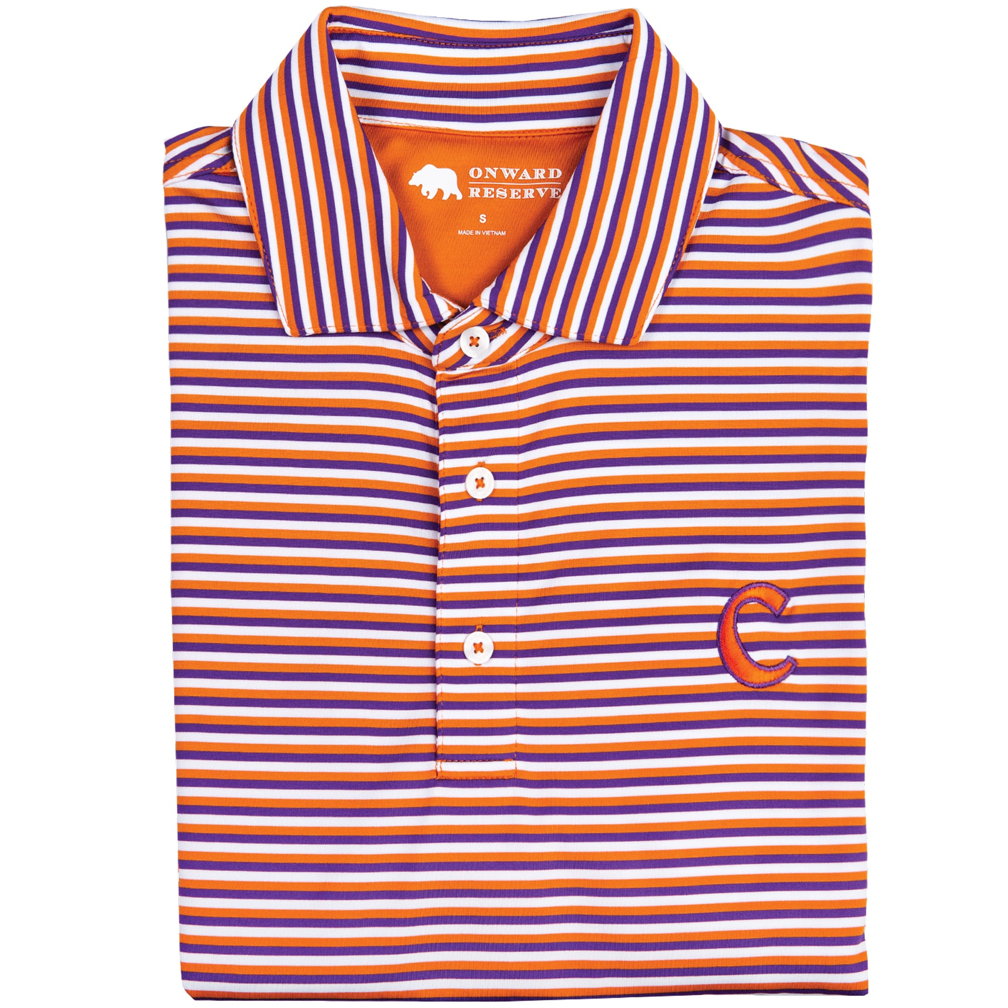 Triple Stripe Clemson C Polo - OnwardReserve