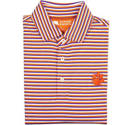 Triple Stripe Clemson Paw Polo - OnwardReserve