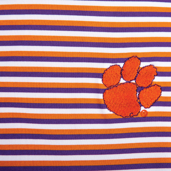 Triple Stripe Clemson Paw Polo