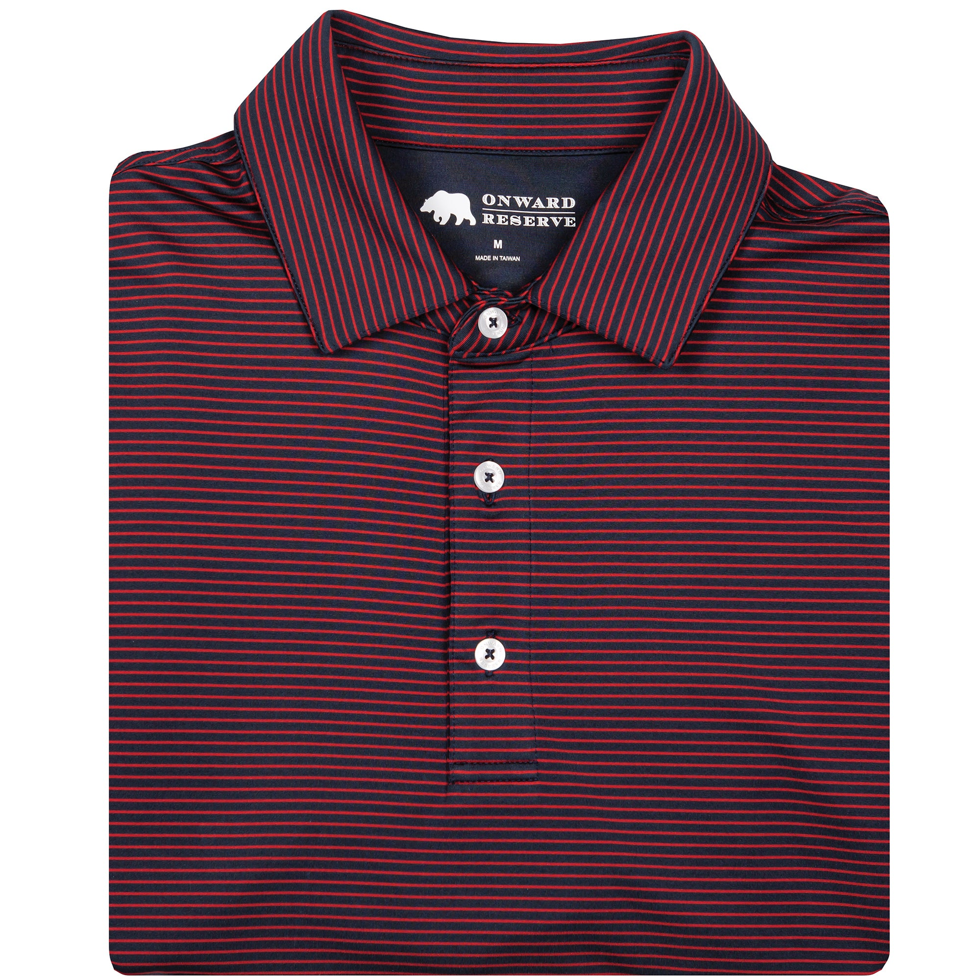 Birdie Stripe Performance Polo - Navy/Red