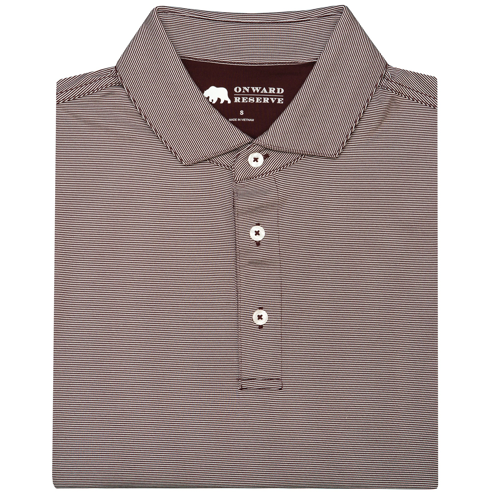 Hairline Stripe Performance Polo - Maroon