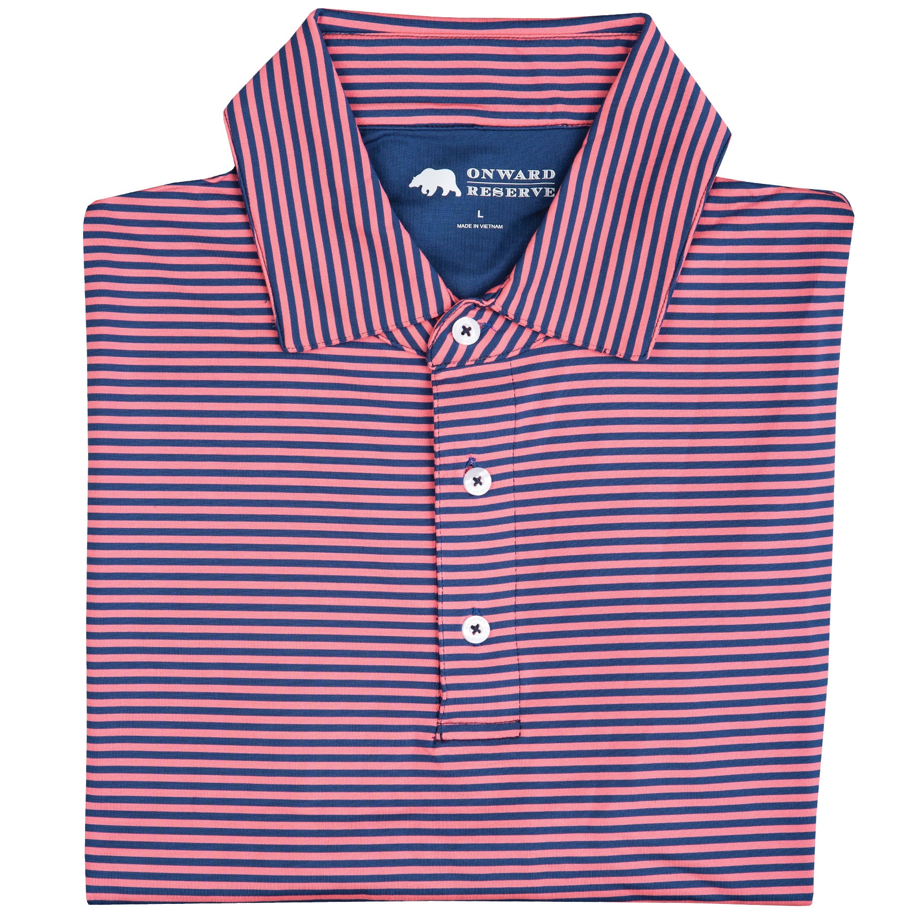 Pro Stripe Performance Polo Navy/Pink