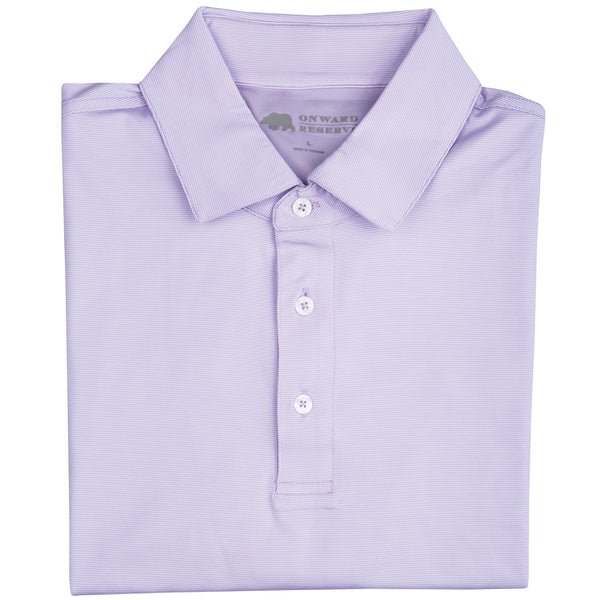 Hairline Stripe Performance Polo Lilac