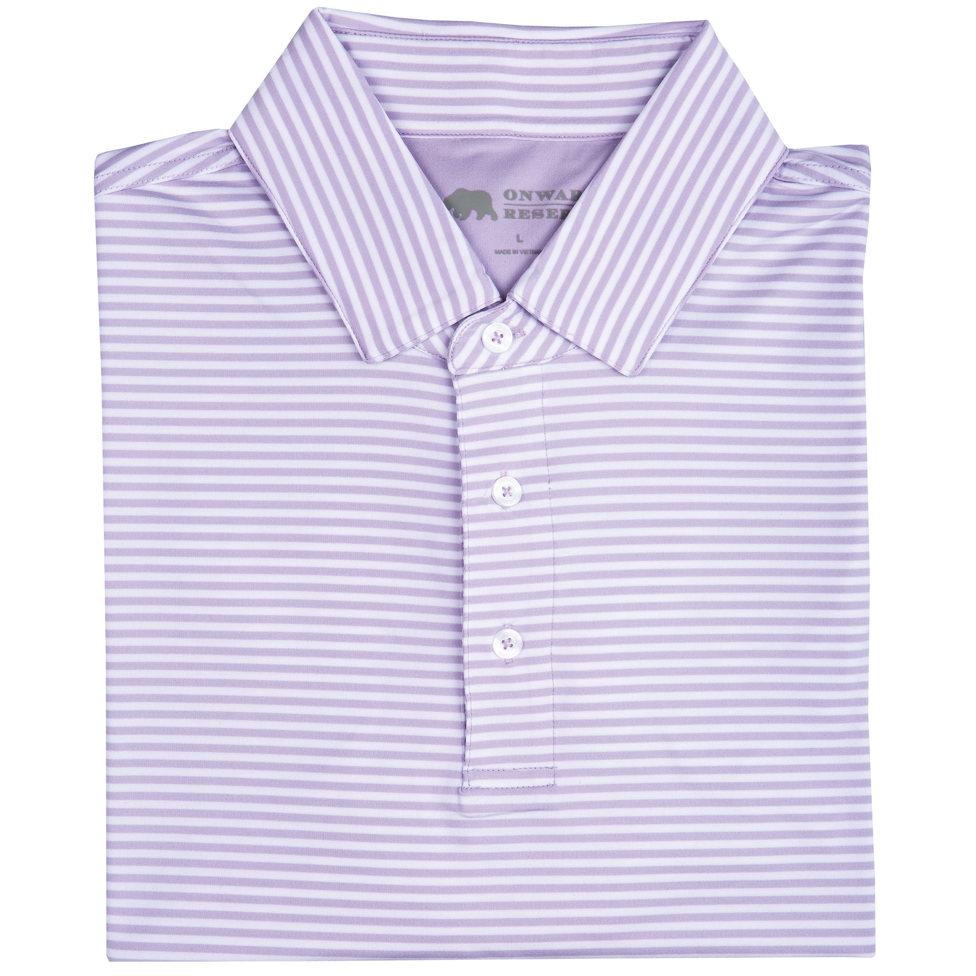 Pro Stripe Performance Polo Lilac/White