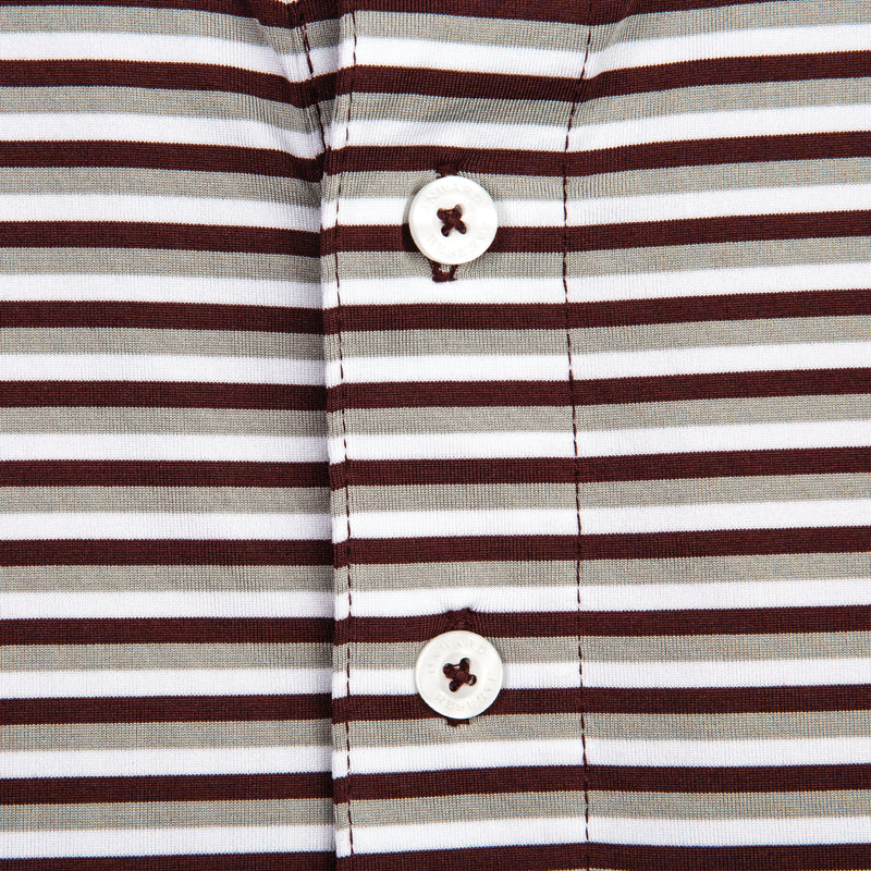 Triple Stripe Performance Polo - Maroon/Gray - OnwardReserve
