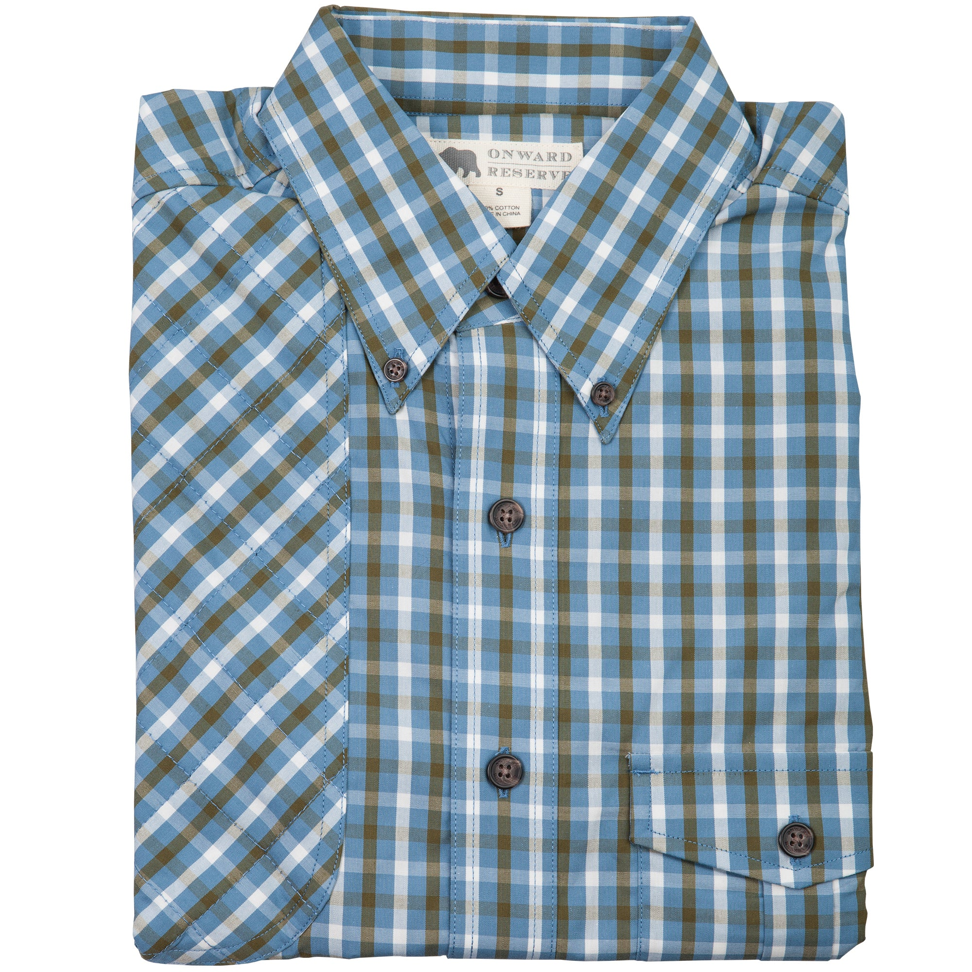 Red Hills Shooting Shirt in Blue Plaid - OnwardReserve