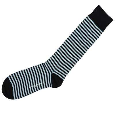 Navy & Sky Blue Repeating Stripe Mid-Calf Cotton Socks