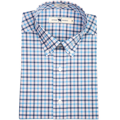 Red Windowpane Tailored Fit Stretch Cotton Button Down - OnwardReserve