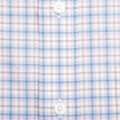 Lilac Plaid Tailored Fit Stretch Cotton Button Down - OnwardReserve