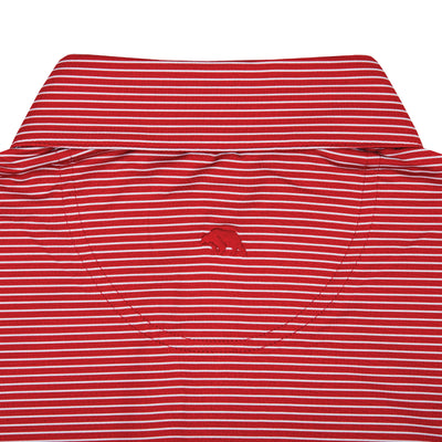 Birdie Stripe Performance Polo - Red/White
