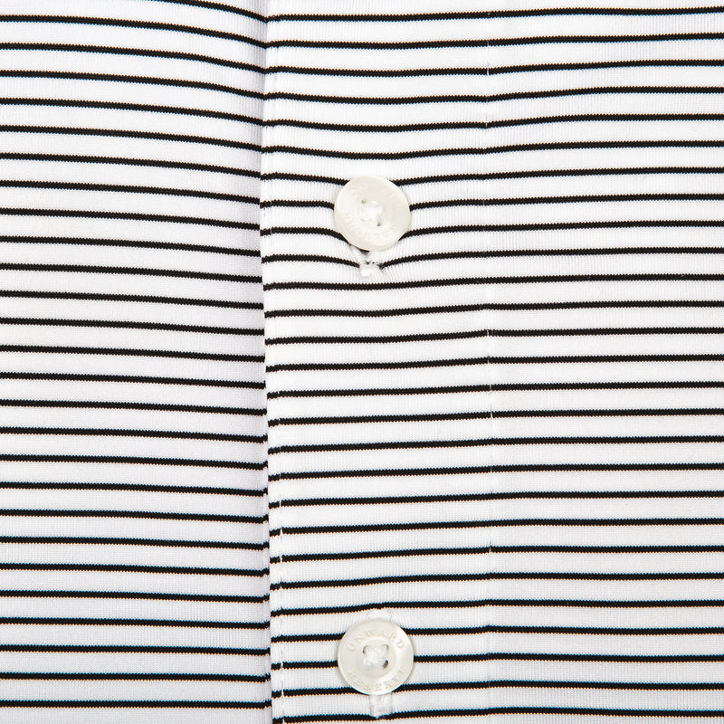 Birdie Stripe Performance Polo - White/Black
